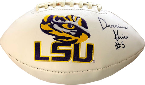 Derrius Guice Autographed LSU Tigers White Panel Football