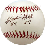 Woodie Held 54 57 Autographed Baseball (JSA)