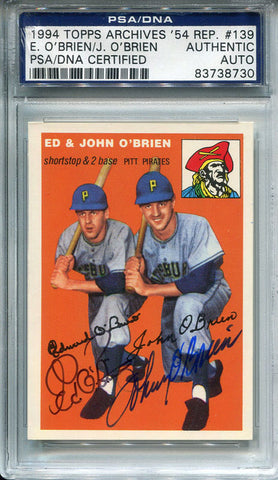 Ed O'Brien and John O'Brien Autographed 1994 Topps Card (PSA/DNA)