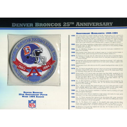 Denver Broncos Unsigned 25th Anniversary Patch with Card