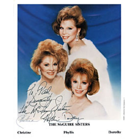 The McGuire Sisters Autographed / Signed Celebrity 8x10 Photo