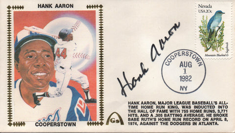 Hank Aaron Autographed Aug 1, 1982 First Day Cover (JSA)