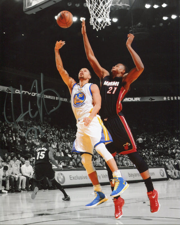 Hassan Whiteside Autographed Spotlight Vs. Stephen Curry 8x10 Photo