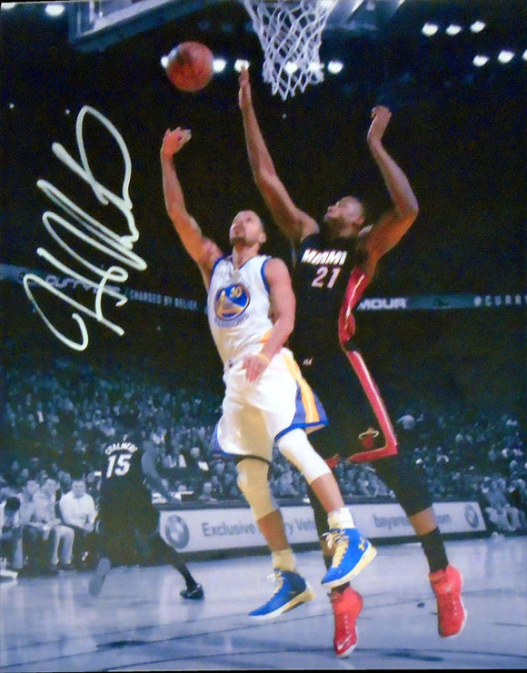 Hassan Whiteside Autographed Block against Stephen Curry 11x14 Photo