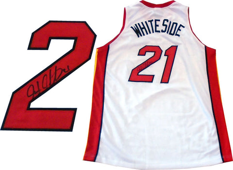 Hassan Whiteside Autographed Miami Heat White Jersey