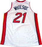 Hassan Whiteside Autographed Miami Heat White Jersey back