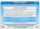 Henry Owens Unsigned 2011 Bowman Rookie Card