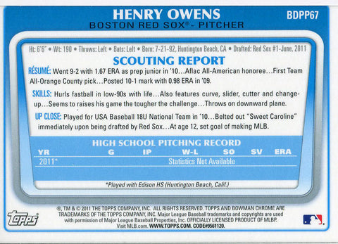 Henry Owens Unsigned 2011 Bowman  Chrome Rookie Card