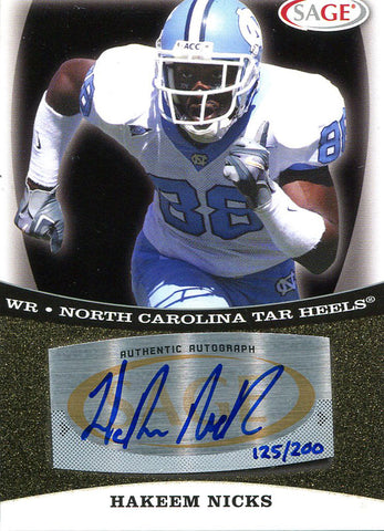 Hakeem Nicks Autographed 2009 Sage Rookie Card