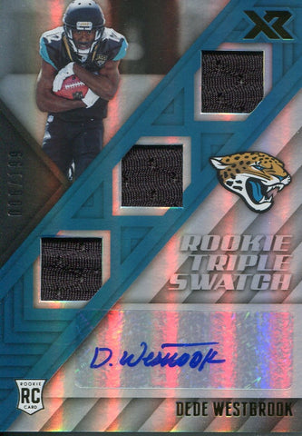 DeDe Westbrook Autographed 2017 Panini XR Rookie Triple Swatch Card
