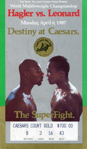 Marvin Hagler vs. Sugar Ray Leonard April 6, 1987 World Middleweight Championship Ticket