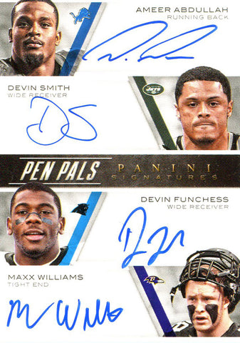 Ameer Abdullah, Devin Smith, Devin Funchess, Maxx Williams, Tevin Coleman, Jeremy Langford, David Cobb, Stefon Diggs Autographed 2015 Panini Pen Pals Signature Card Front