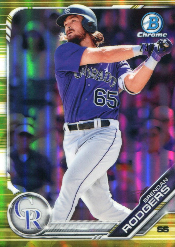 Brendan Rodgers 2019 Bowman Chrome Yellow Refractor Rookie Card