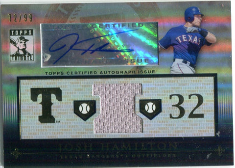 Josh Hamilton Autographed 2010 Topps Tribute Jersey Card