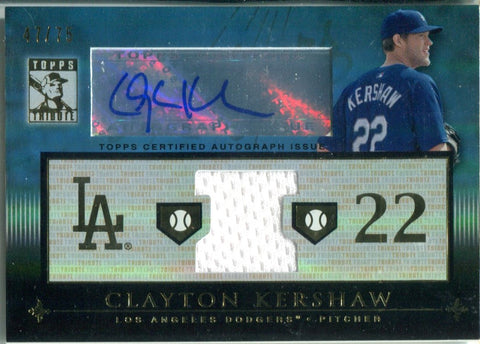 Clayton Kershaw Autographed 2010 Topps Tribute Jersey Card