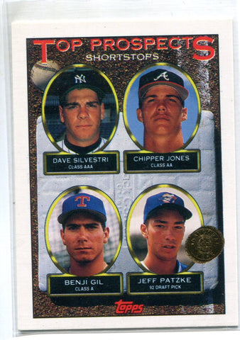 1993 Topps Prospects Shortstops #529  C.Jones/D.Silvestri/B.Gil/J.Patzke Card