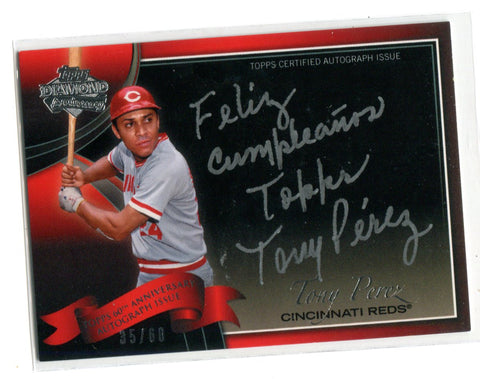 Perez Autographed 2011 Topps Diamond Anniversary #60A-TP Card 35/60