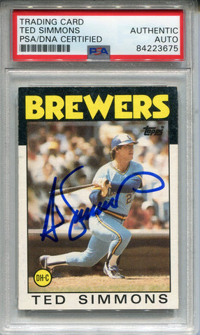 Ted Simmons Autographed 1986 Topps Card #237 (PSA)