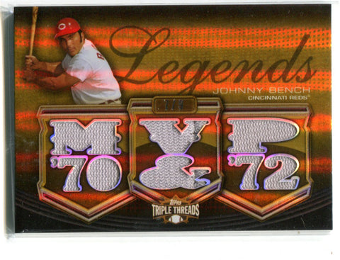 Johnny Bench 2010 Topps Triple Threads Legends #TTRL-5 Card 7/9
