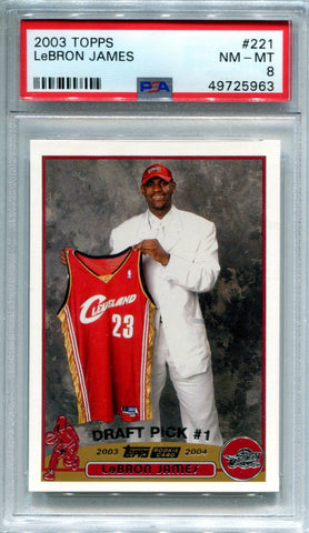 LeBron James 2003 Topps Rookie Card NM-MT 8 (PSA)