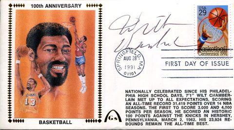 Wilt Chamberlain Autographed August 28th 1991 First Day Cover (JSA)