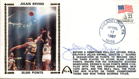 Julius Erving Autographed April 17th 1987 First Day Cover (JSA)