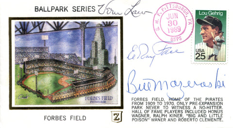 Vern Law, Elroy Face & Bill Mazeroski Autographed June 30 1989 First Day Cover