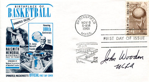 "John Wooden ""UCLA"" Autographed November 6th 1961 First Day Cover (JSA)"