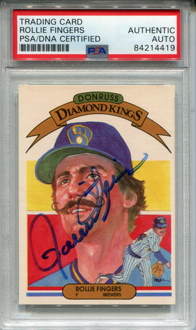 Rollie Fingers Autographed 1982 Donruss Diamond Kings Card #2 (PSA)