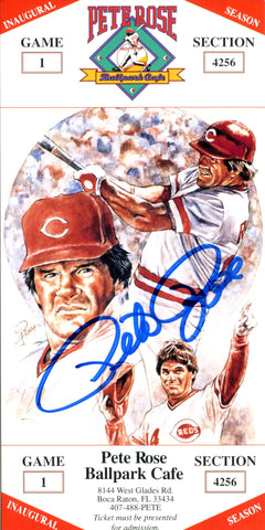Pete Rose Autographed Ballpark Cafe Ticket