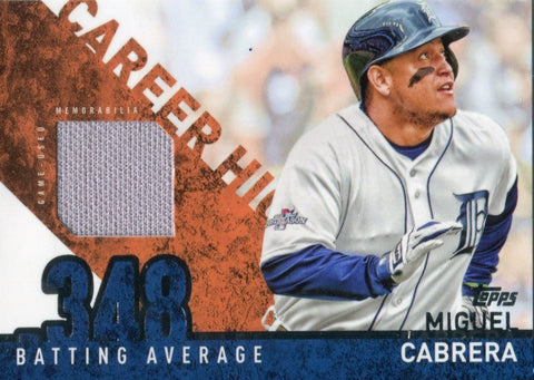 Miguel Cabrera 2015 Topps Career High Game Used Jersey Card