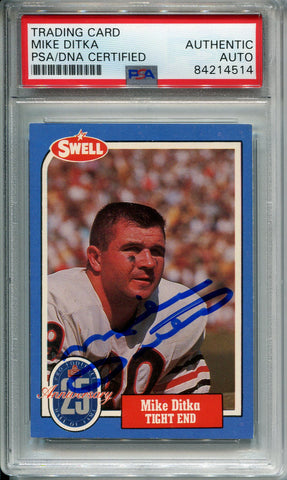 Mike Ditka Autographed 1988 Swell Card #142 (PSA)