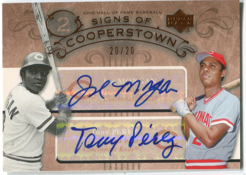 Johnny Bench and Tony Perez Signs Of Cooperstown Autographed Card #20/20
