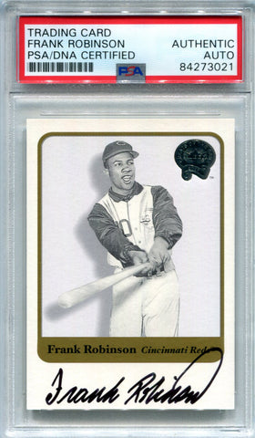 Frank Robinson Autographed 2001 Fleer Greats of the Game Card (PSA)