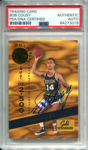 Bob Cousy Autographed 1994 Signature Series Gold Standard Card (PSA)