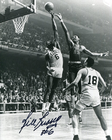 Bill Russell Autographed / Signed Blocking Wilt Chamberlain 8x10 Photo