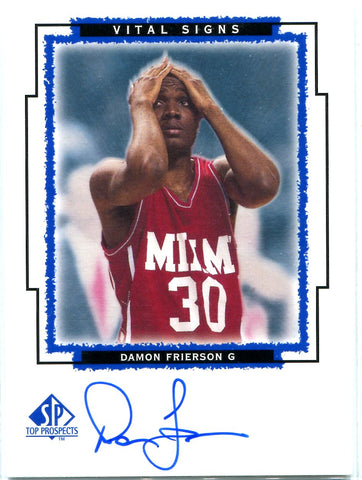 Damon Frierson 1999 Upper Deck SP Top Prospects Vital Signs Autographed Card