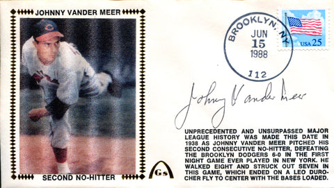 Johnny Vandermeer Autographed Jun 15 1988 First Day Cover