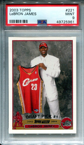 LeBron James 2003 Topps Rookie Card Mint 9 (PSA)