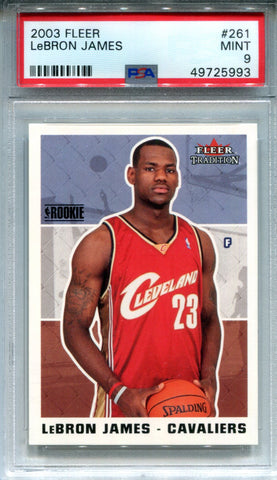 LeBron James 2003 Fleer Tradition Rookie Card (PSA 9)
