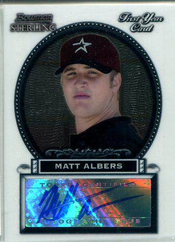 Matt Albers 2005 Bowman Sterling Autographed Rookie Card