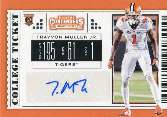 Trayvon Mullen Jr. Autographed 2019 Contenders Draft Picks Rookie Card