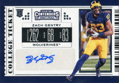 Zach Gentry Autographed 2019 Contenders Draft Picks Rookie Card