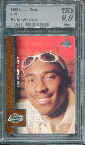 Kobe Bryant 1996 Upper Deck #58 Rookie Card (Certified Express) Graded 9 Mint