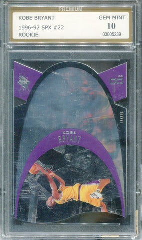 Kobe Bryant 1996-97 SPX #22 Rookie Card (Premium) Graded 10 Mint