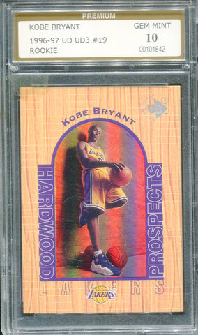 Kobe Bryant 1996-97 UD3 #19 Rookie Card (Premium) Graded 10 Mint