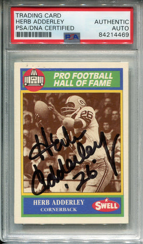 Herb Adderley Autographed 1990 Swell Card #103 (PSA)
