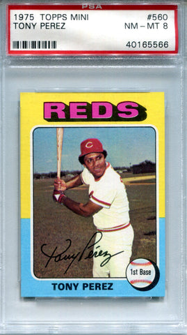 Tony Perez 1975 Topps Mini Card Grade 8