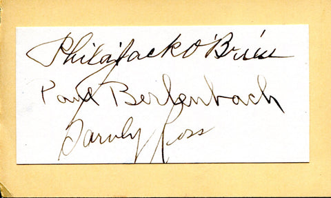 Jack O'Brien, Barney Ross & Paul Berlenbach Autographed Cut