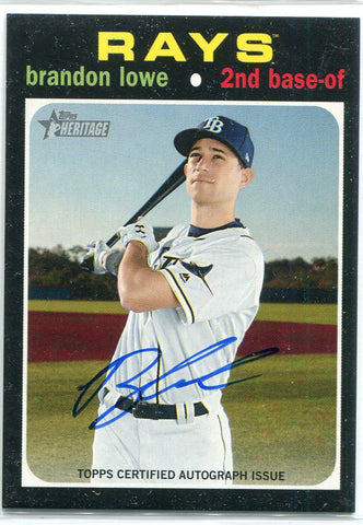 Brandon Lowe Autographed 2020 Topps Heritage Card #ROA-BL